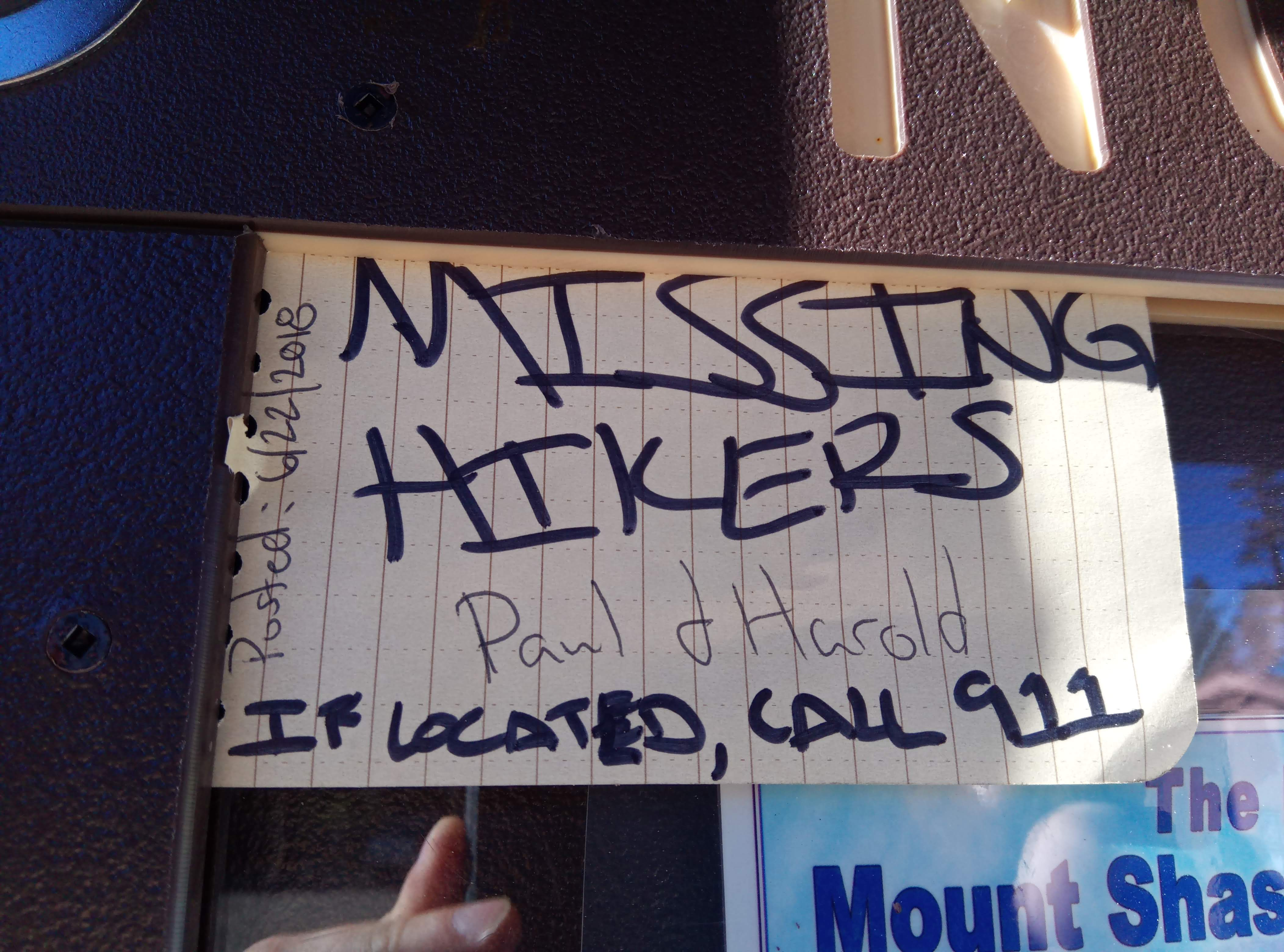 Posting about the missing hikers