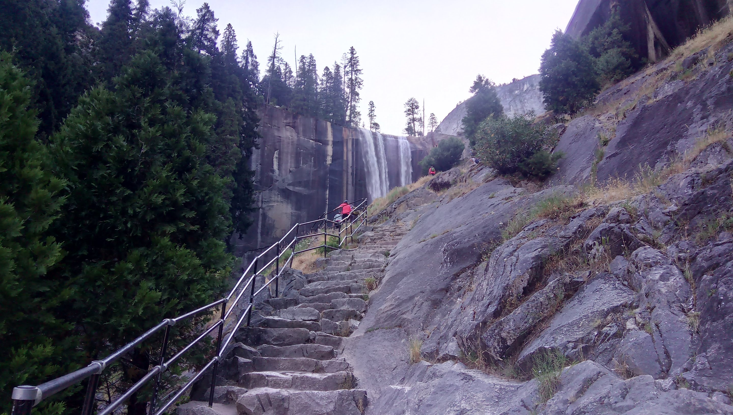 Vernal fall and steps on Mist trail