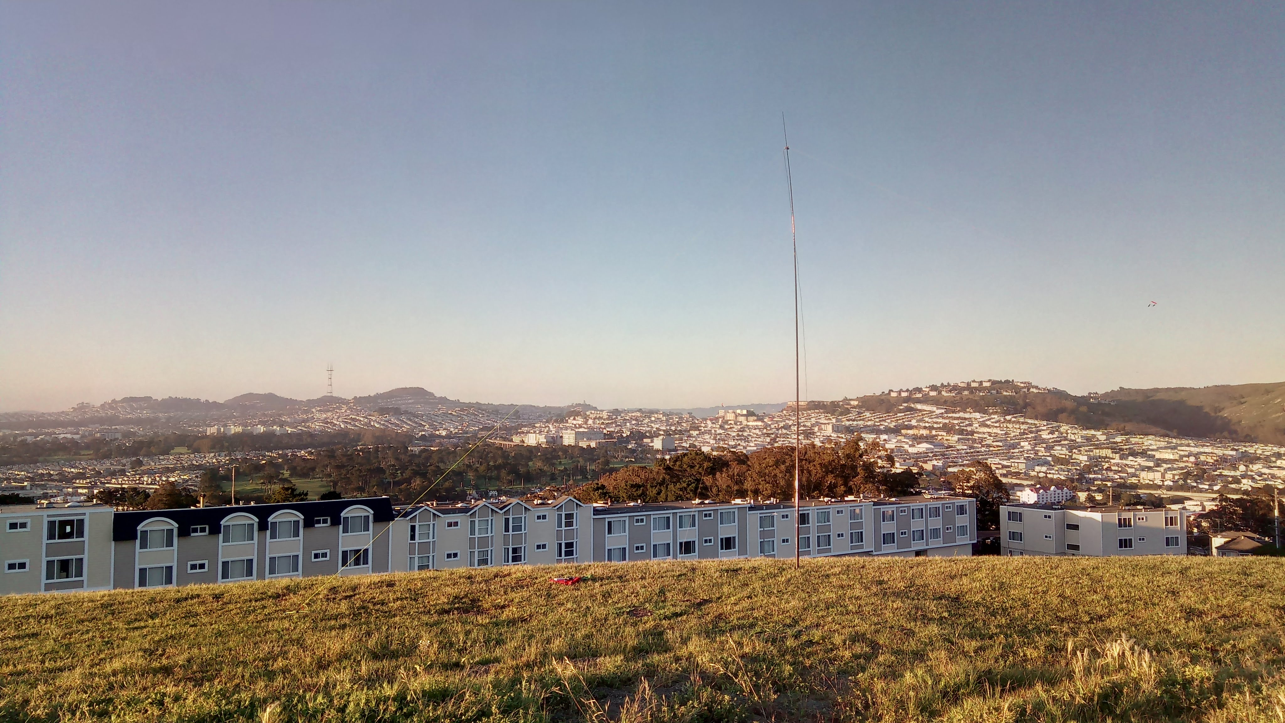 My humble dipole and Twin Peaks with Sutro Tower in the background - testing WSPR mode